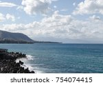 landscape of the beach at... | Shutterstock . vector #754074415