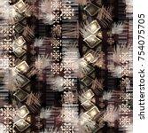 seamless pattern mixed design.... | Shutterstock . vector #754075705