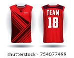 basketball jersey tank top... | Shutterstock .eps vector #754077499