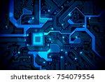 high tech electronic circuit... | Shutterstock .eps vector #754079554
