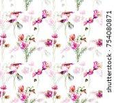 seamless pattern with original... | Shutterstock . vector #754080871