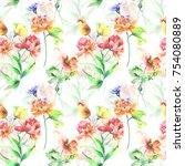 floral seamless pattern ... | Shutterstock . vector #754080889