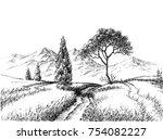 field landscape pencil drawing. ... | Shutterstock .eps vector #754082227