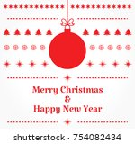 christmas red bauble card.... | Shutterstock .eps vector #754082434