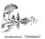 river bank panorama. nature... | Shutterstock .eps vector #754083667