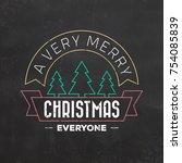 typographic christmas design  ... | Shutterstock .eps vector #754085839