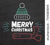 typographic christmas design  ... | Shutterstock .eps vector #754085845
