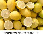 colorful sicilian fres ripe... | Shutterstock . vector #754089211