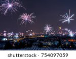 new years eve fireworks above... | Shutterstock . vector #754097059