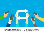 re post concept vector  flat... | Shutterstock .eps vector #754098997