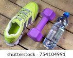 sports sneakers  dumbbells ... | Shutterstock . vector #754104991