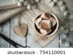 hot chocolate with marshmallows | Shutterstock . vector #754110001