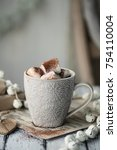 hot chocolate with marshmallows | Shutterstock . vector #754110004