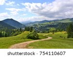 dirt road in summer landscape ... | Shutterstock . vector #754110607