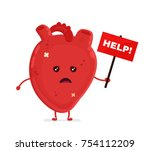 sad unhealthy sick heart with... | Shutterstock .eps vector #754112209