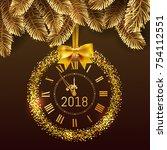 gold glitter disco vector 2018... | Shutterstock .eps vector #754112551