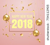happy new year 2018 elegant... | Shutterstock .eps vector #754112905