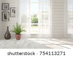 white empty room with summer...   Shutterstock . vector #754113271