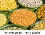 various pulses in a plastic... | Shutterstock . vector #754115005