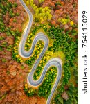 aerial view of curvy road...