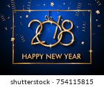 2018 happy new year background... | Shutterstock .eps vector #754115815