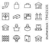 thin line icon set   gift ...   Shutterstock .eps vector #754121131