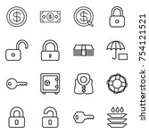 thin line icon set   dollar ... | Shutterstock .eps vector #754121521