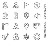 thin line icon set   pointer ... | Shutterstock .eps vector #754126294