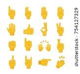 set of hands on white... | Shutterstock .eps vector #754127329