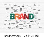advertising concept  painted... | Shutterstock . vector #754128451