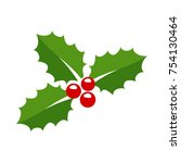holly berry leaves christmas... | Shutterstock .eps vector #754130464