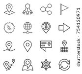 thin line icon set   pointer ... | Shutterstock .eps vector #754130971