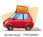 fast pizza delivery. cartoon... | Shutterstock .eps vector #754133461