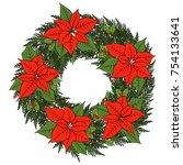 hand drawn vector christmas... | Shutterstock .eps vector #754133641