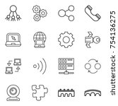 thin line icon set   share ... | Shutterstock .eps vector #754136275