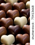 the sweet chocolate hearts background - stock photo