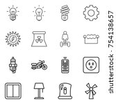 thin line icon set   bulb  gear ... | Shutterstock .eps vector #754138657