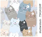 Stock vector vintage seamless funny cute kitty kitten cat blue grey pastel baby cartoon background pattern 754141249