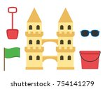 sand castle isolated in flat... | Shutterstock .eps vector #754141279