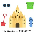 sand castle isolated in flat... | Shutterstock .eps vector #754141285