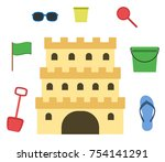 sand castle isolated in flat... | Shutterstock .eps vector #754141291