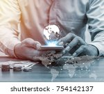 technology people global... | Shutterstock . vector #754142137
