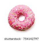 pink donut with colorful... | Shutterstock . vector #754142797