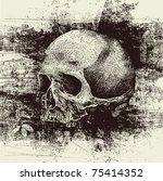skull and grunge vector... | Shutterstock .eps vector #75414352