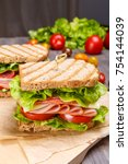 healthy ham  salami  cheese and ... | Shutterstock . vector #754144039