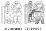 santa claus and christmas gifts.... | Shutterstock .eps vector #754144939