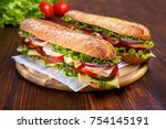 Two Baguette Sandwiches With...