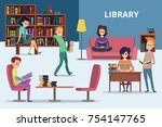 students in library. peoples... | Shutterstock .eps vector #754147765