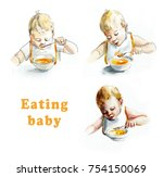 baby eating. my first food.... | Shutterstock . vector #754150069