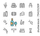 black line wine icons set.... | Shutterstock . vector #754151509